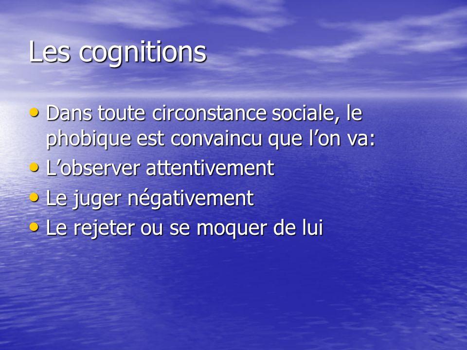 Les cognitions Dans toute circonstance sociale, le phobique est convaincu que l'on va: L'observer attentivement.