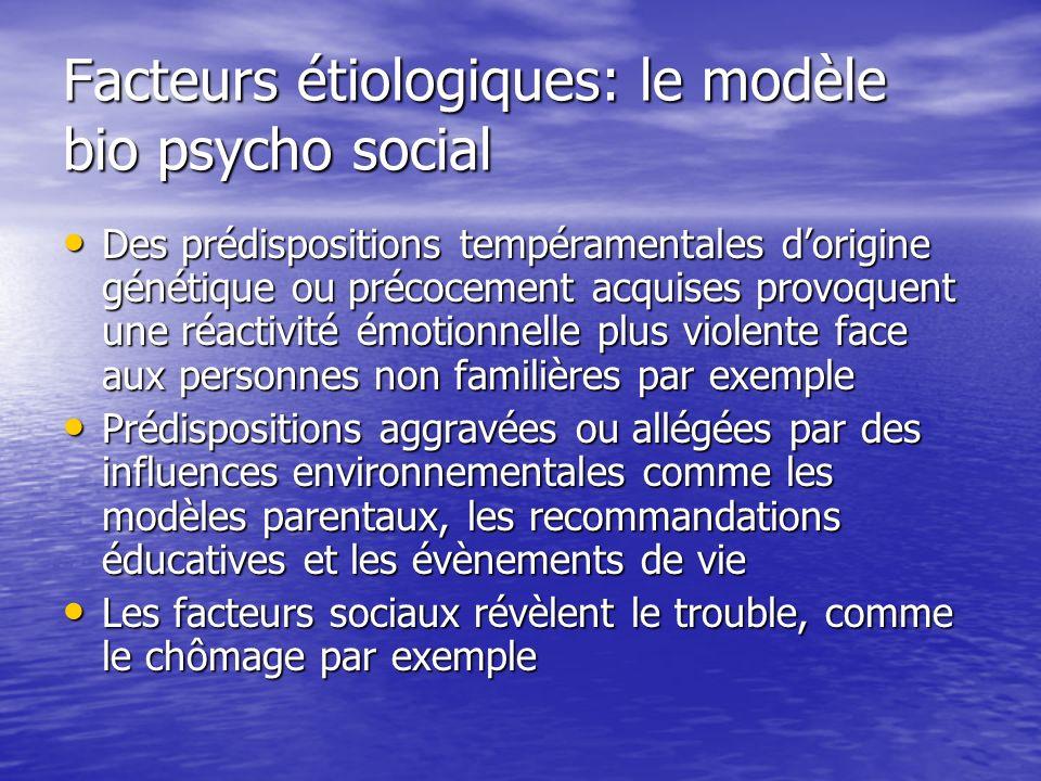 Facteurs étiologiques: le modèle bio psycho social