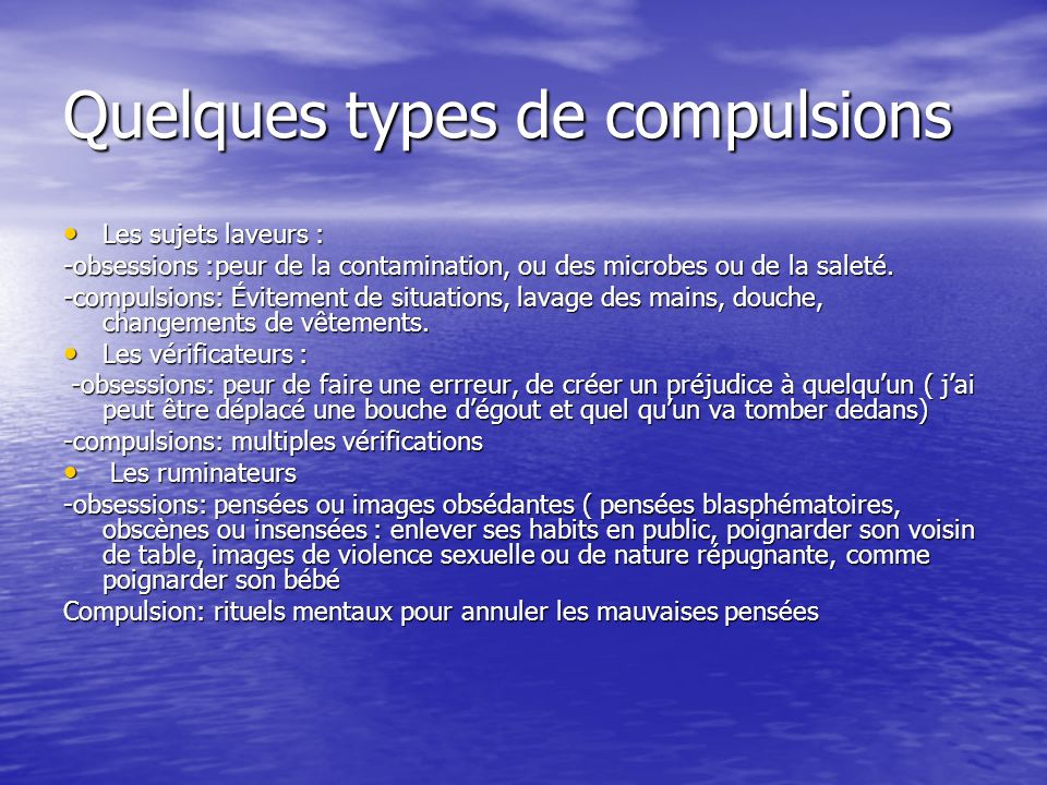 Quelques types de compulsions