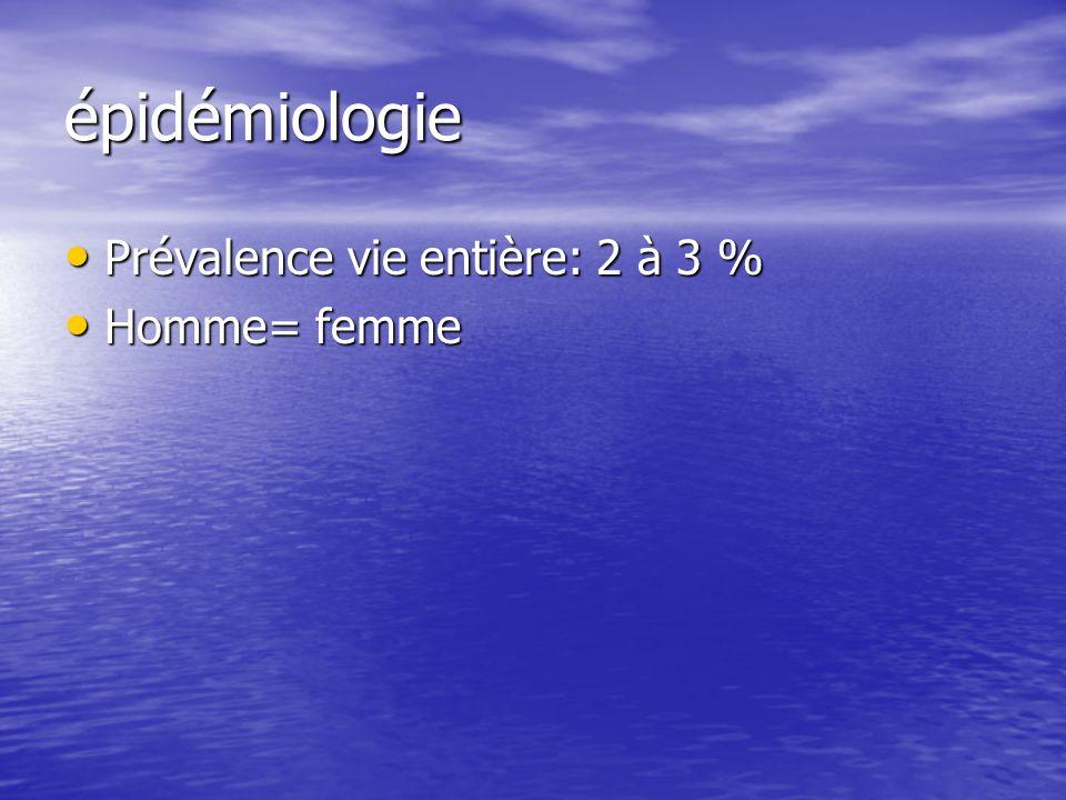 épidémiologie Prévalence vie entière: 2 à 3 % Homme= femme