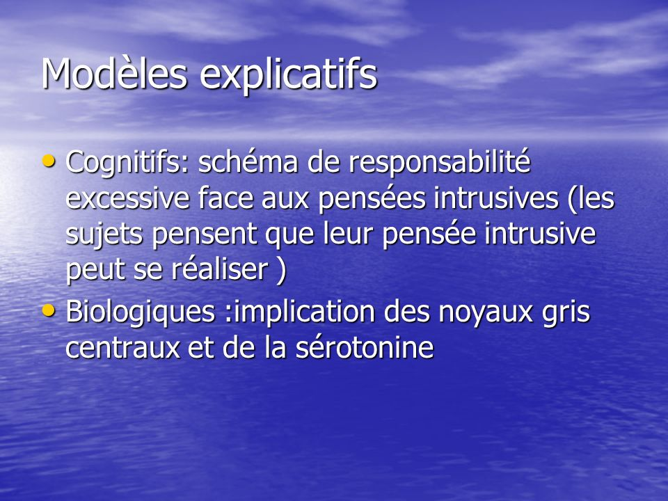 Modèles explicatifs