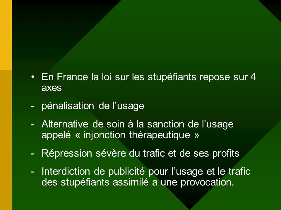 En France la loi sur les stupéfiants repose sur 4 axes