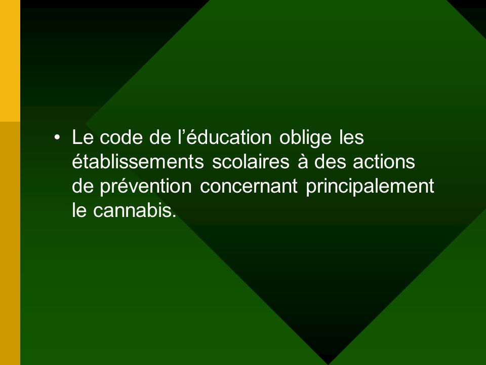 Le code de l'éducation oblige les établissements scolaires à des actions de prévention concernant principalement le cannabis.