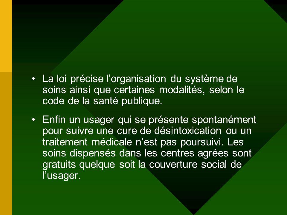 La loi précise l'organisation du système de soins ainsi que certaines modalités, selon le code de la santé publique.