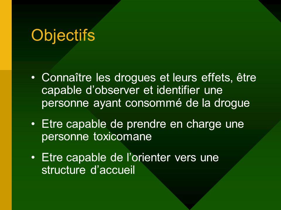 Objectifs Connaître les drogues et leurs effets, être capable d'observer et identifier une personne ayant consommé de la drogue.