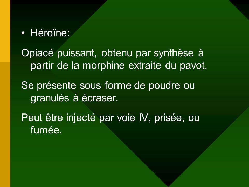 Héroïne: Opiacé puissant, obtenu par synthèse à partir de la morphine extraite du pavot. Se présente sous forme de poudre ou granulés à écraser.