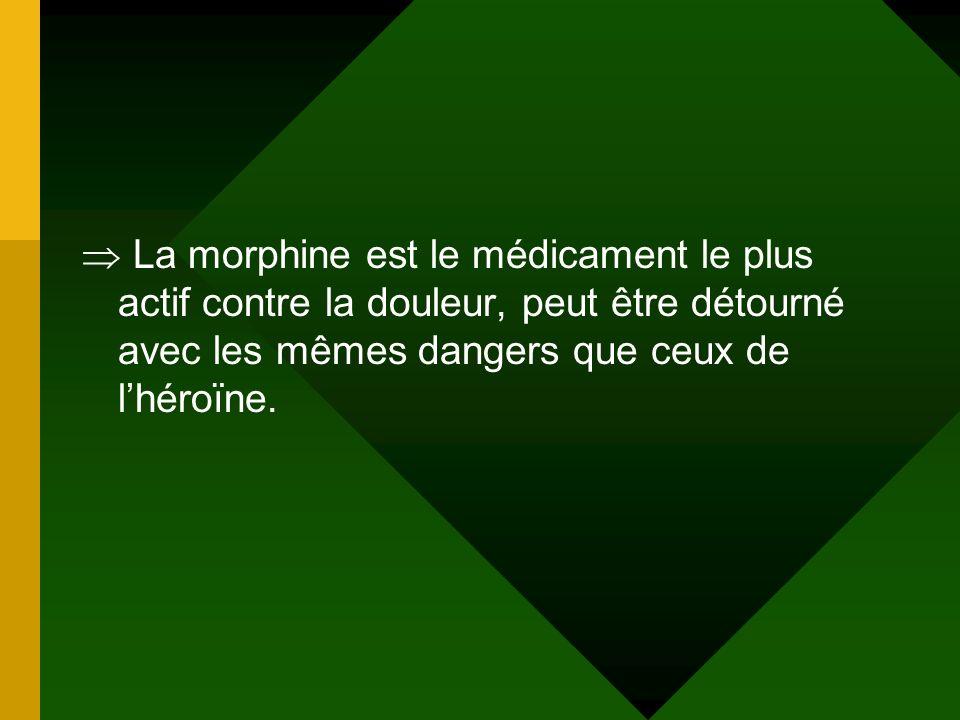 La morphine est le médicament le plus actif contre la douleur, peut être détourné avec les mêmes dangers que ceux de l'héroïne.