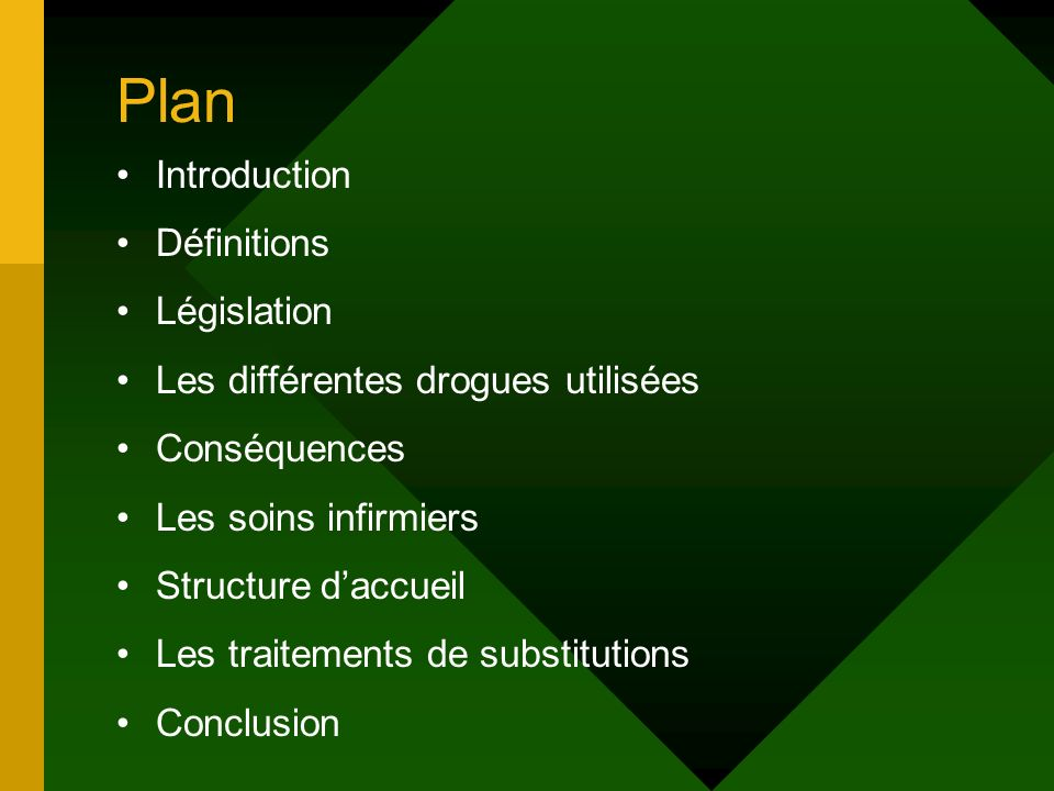 Plan Introduction Définitions Législation