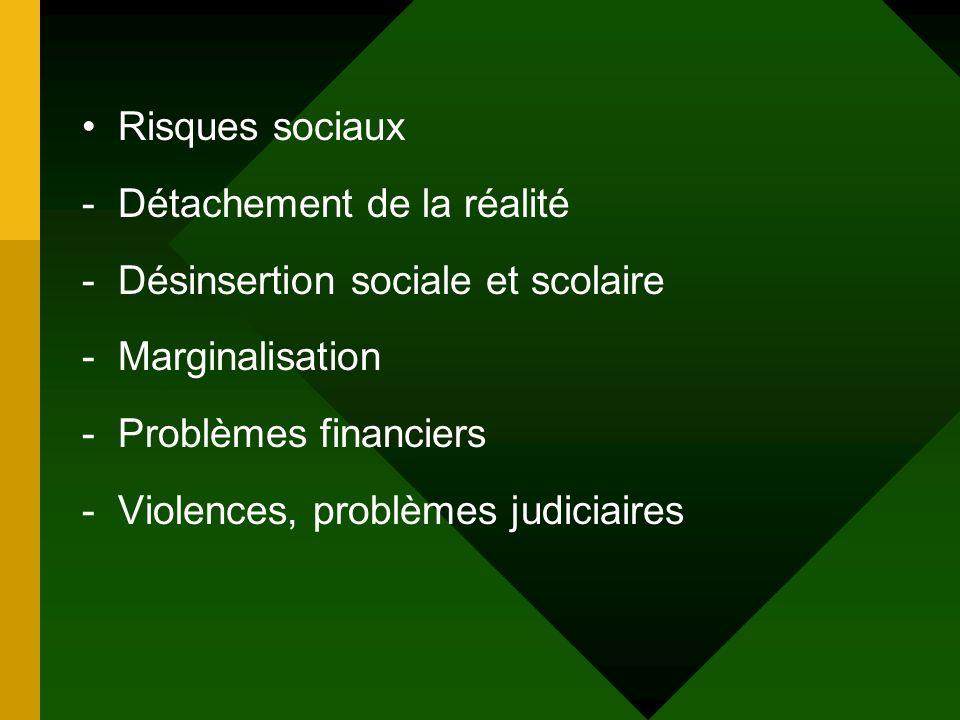 Risques sociaux Détachement de la réalité. Désinsertion sociale et scolaire. Marginalisation. Problèmes financiers.