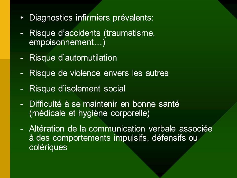 Diagnostics infirmiers prévalents: