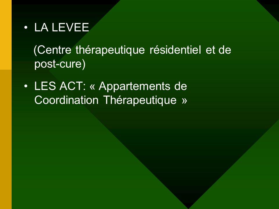 LA LEVEE (Centre thérapeutique résidentiel et de post-cure) LES ACT: « Appartements de Coordination Thérapeutique »
