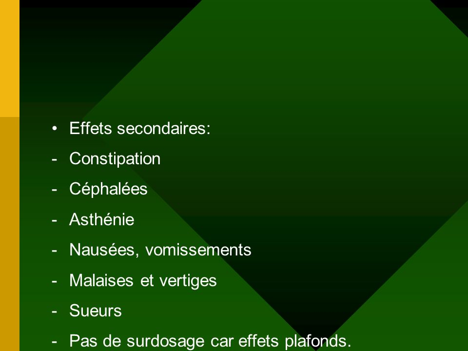 Effets secondaires: Constipation. Céphalées. Asthénie. Nausées, vomissements. Malaises et vertiges.