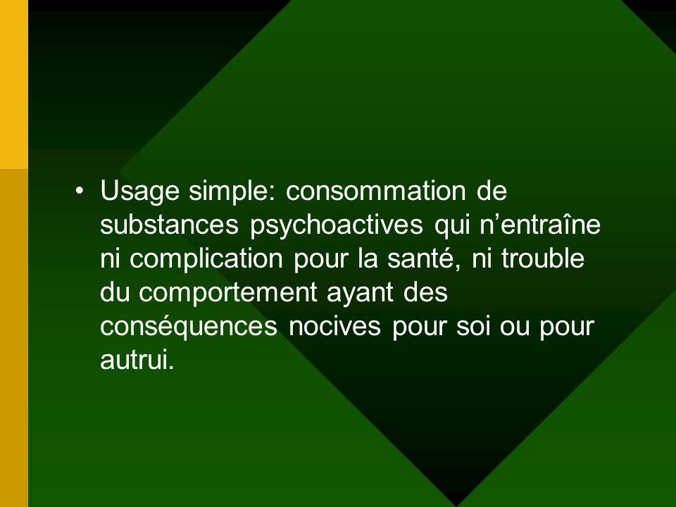 Usage simple: consommation de substances psychoactives qui n'entraîne ni complication pour la santé, ni trouble du comportement ayant des conséquences nocives pour soi ou pour autrui.