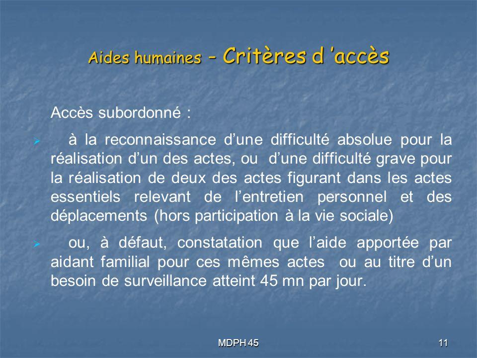 Aides humaines - Critères d 'accès