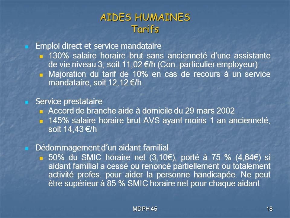 AIDES HUMAINES Tarifs Emploi direct et service mandataire