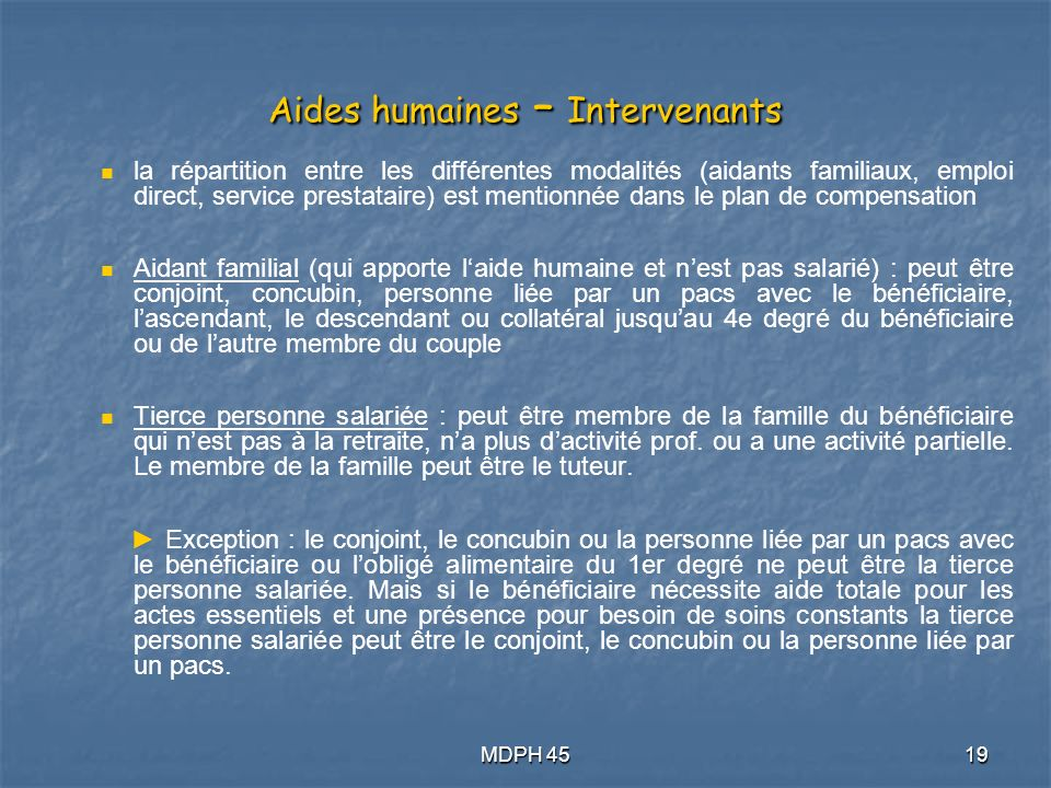 Aides humaines – Intervenants