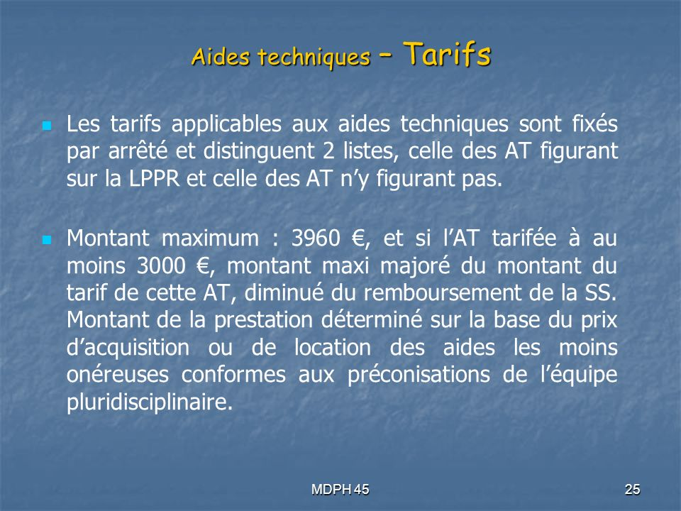 Aides techniques – Tarifs