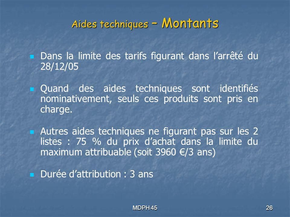 Aides techniques – Montants