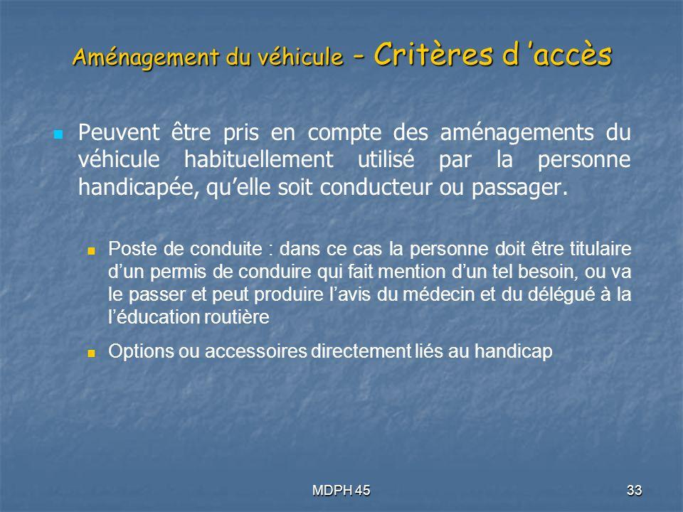 Aménagement du véhicule - Critères d 'accès