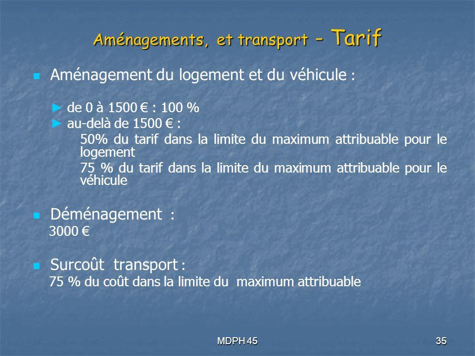 Aménagements, et transport - Tarif