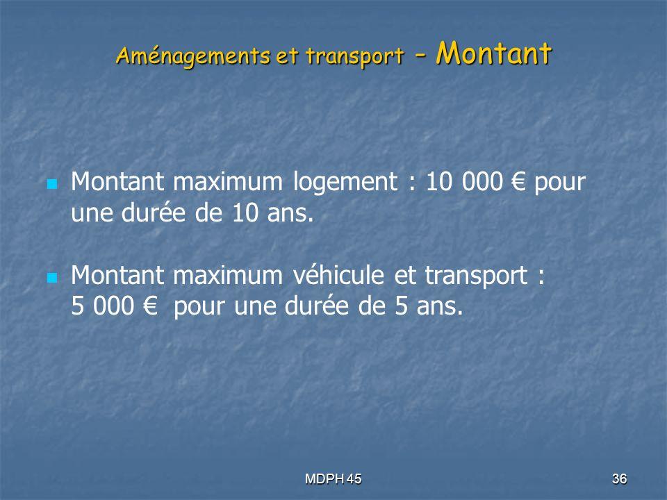 Aménagements et transport - Montant