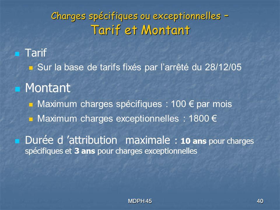 Charges spécifiques ou exceptionnelles - Tarif et Montant