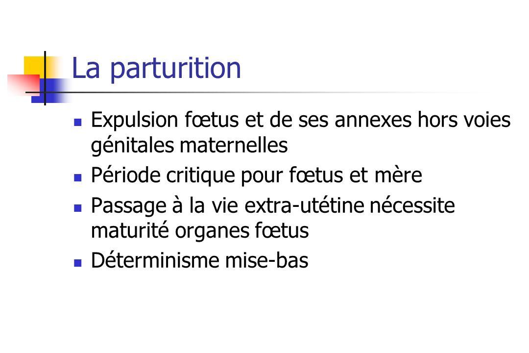 La parturitionExpulsion fœtus et de ses annexes hors voies génitales maternelles. Période critique pour fœtus et mère.