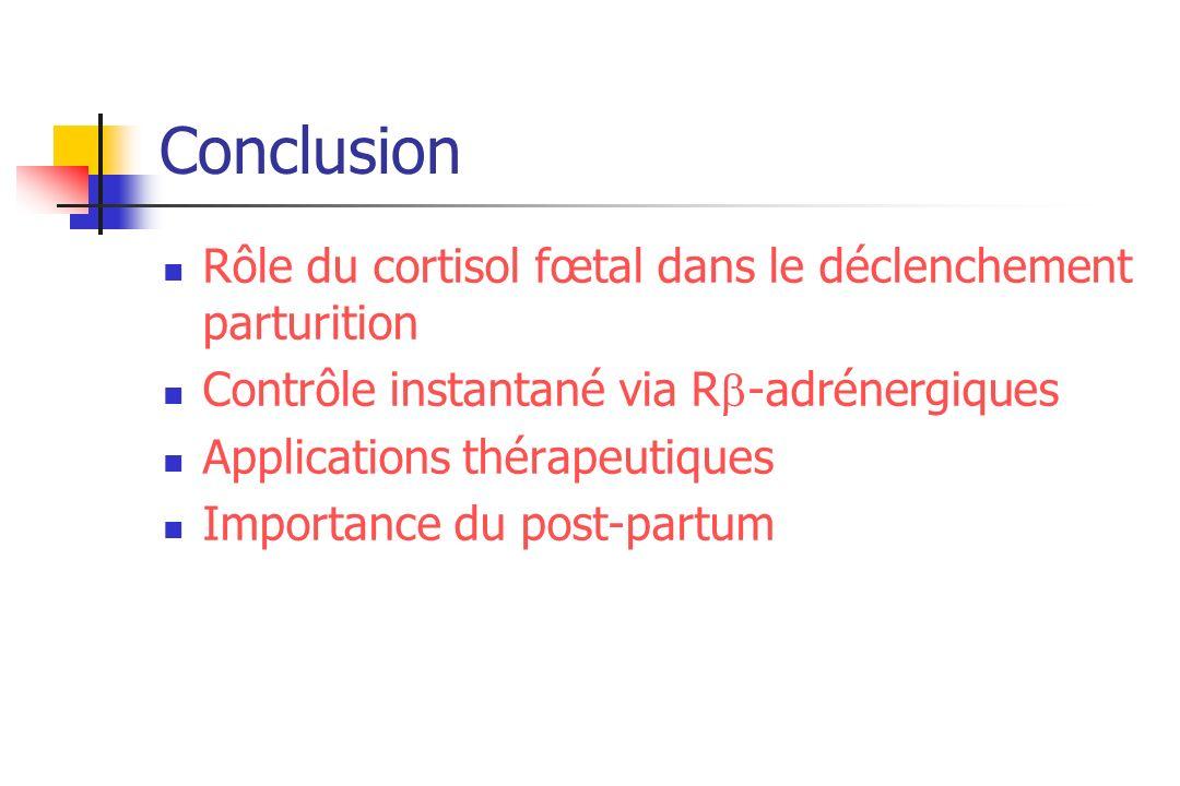 Conclusion Rôle du cortisol fœtal dans le déclenchement parturition