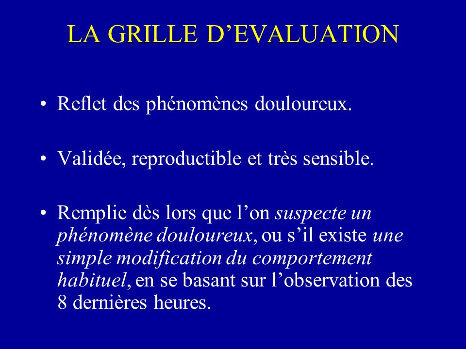 LA GRILLE D'EVALUATION