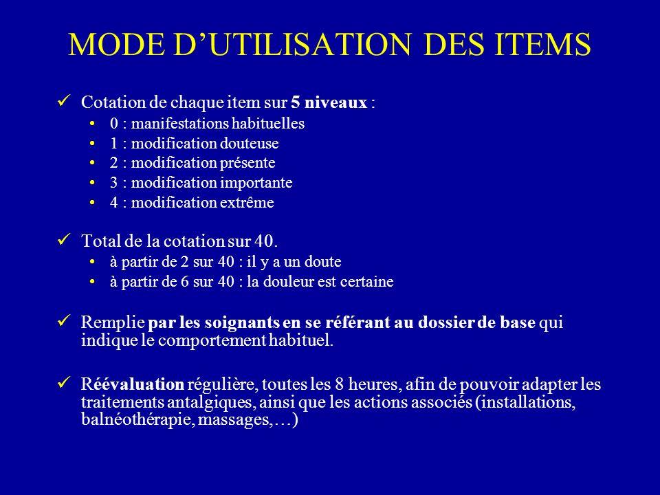 MODE D'UTILISATION DES ITEMS