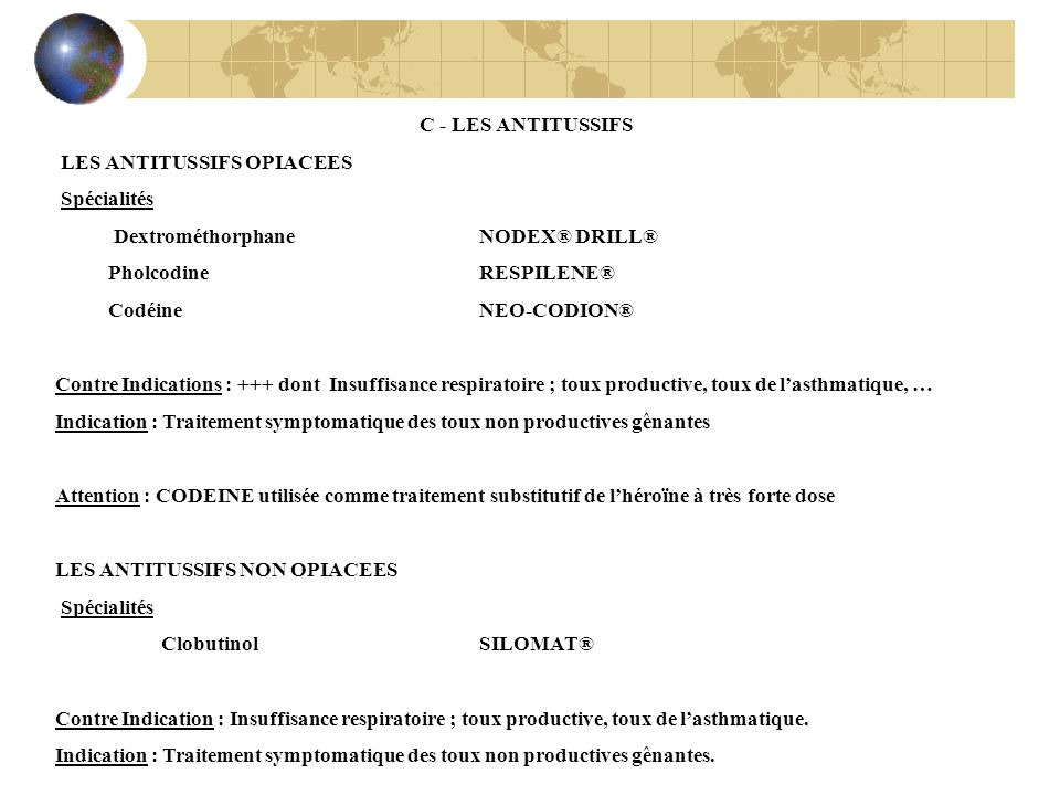 C - LES ANTITUSSIFS LES ANTITUSSIFS OPIACEES. Spécialités. Dextrométhorphane NODEX® DRILL® Pholcodine RESPILENE®