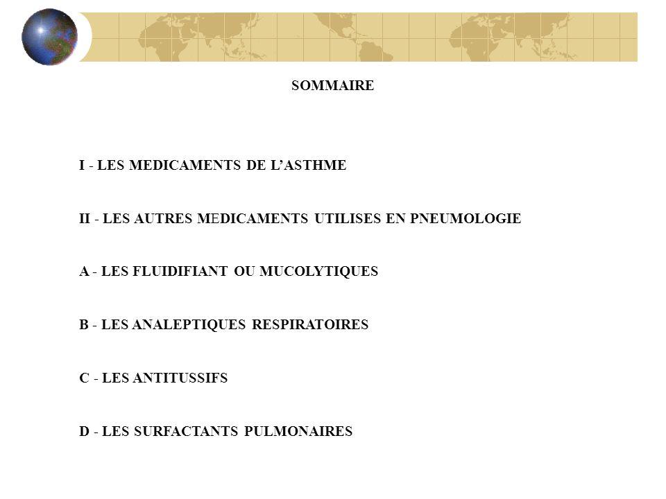 SOMMAIRE I - LES MEDICAMENTS DE L'ASTHME. II - LES AUTRES MEDICAMENTS UTILISES EN PNEUMOLOGIE. A - LES FLUIDIFIANT OU MUCOLYTIQUES.