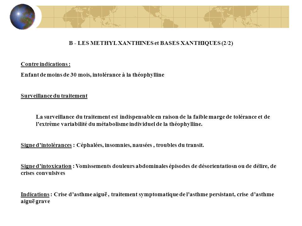 B - LES METHYL XANTHINES et BASES XANTHIQUES (2/2)