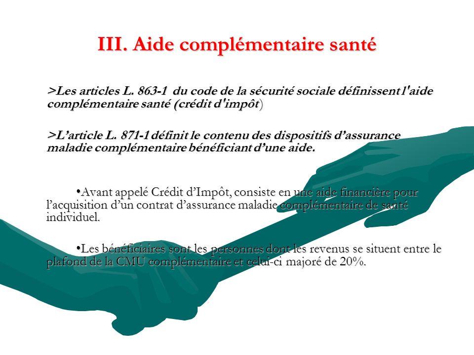 III. Aide complémentaire santé