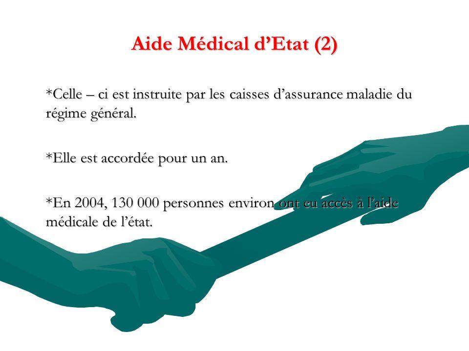 Aide Médical d'Etat (2) *Celle – ci est instruite par les caisses d'assurance maladie du régime général.
