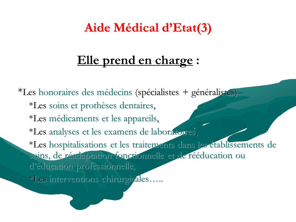 Aide Médical d'Etat(3) Elle prend en charge :