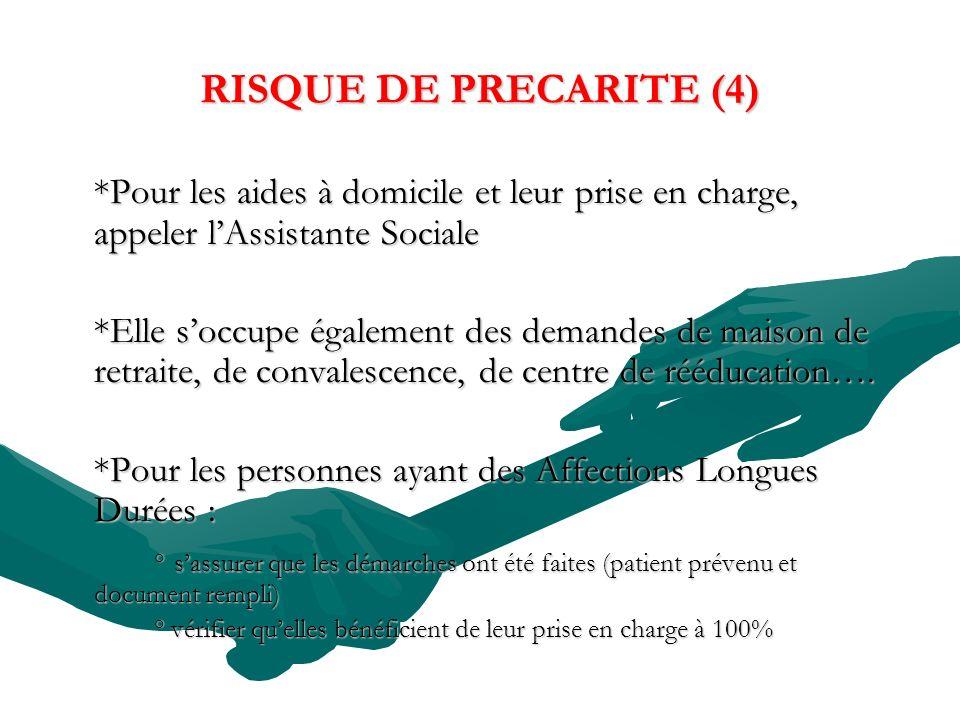 RISQUE DE PRECARITE (4) *Pour les aides à domicile et leur prise en charge, appeler l'Assistante Sociale.