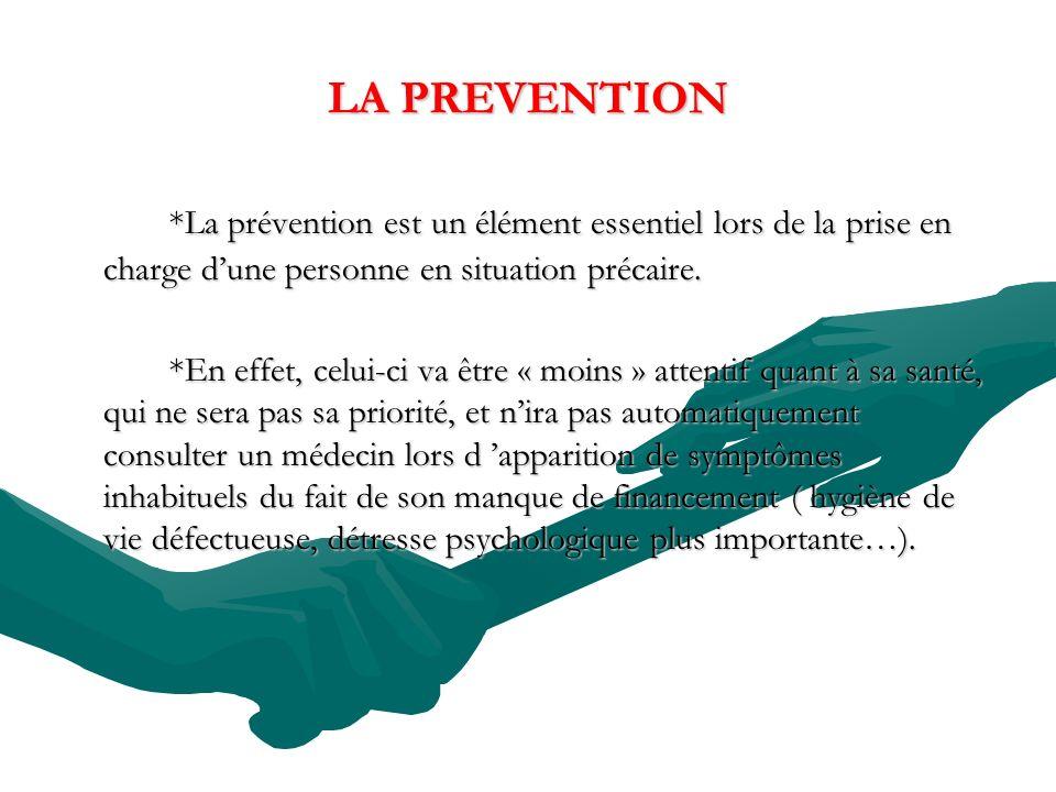 LA PREVENTION *La prévention est un élément essentiel lors de la prise en charge d'une personne en situation précaire.