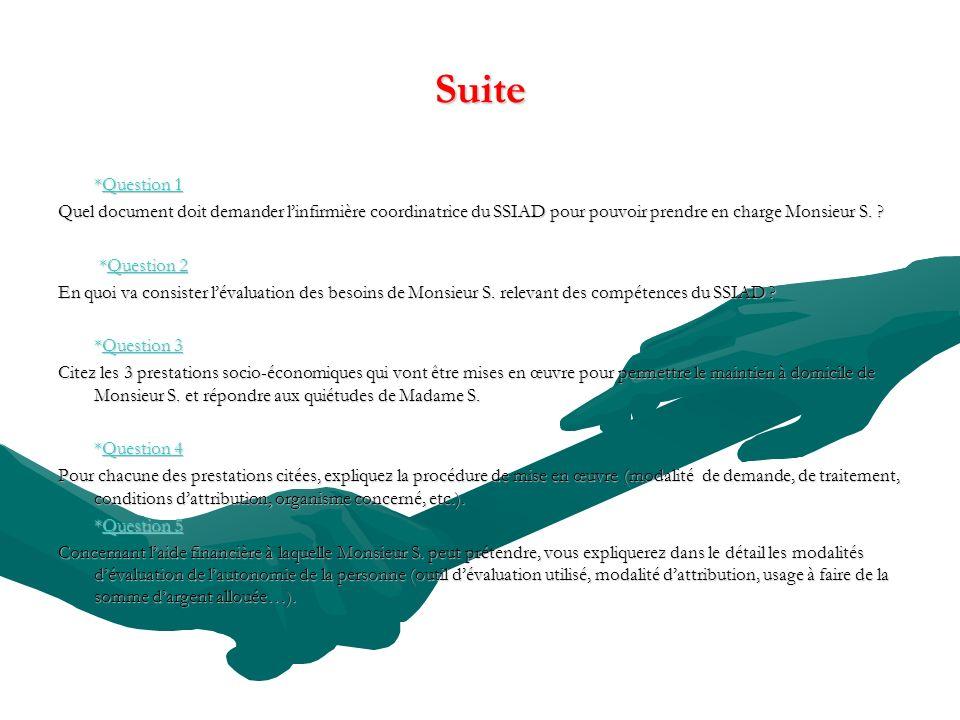 Suite *Question 1. Quel document doit demander l'infirmière coordinatrice du SSIAD pour pouvoir prendre en charge Monsieur S.