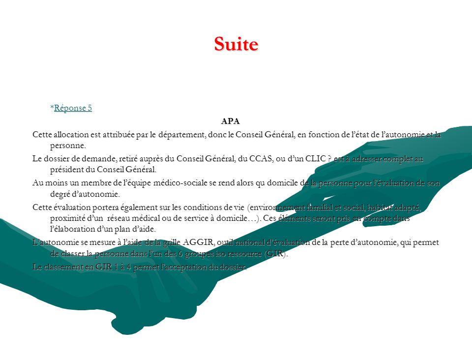 Suite *Réponse 5. APA.