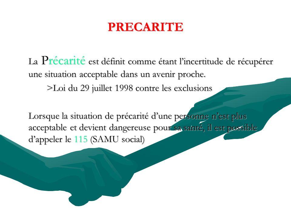 PRECARITE La Précarité est définit comme étant l'incertitude de récupérer une situation acceptable dans un avenir proche.