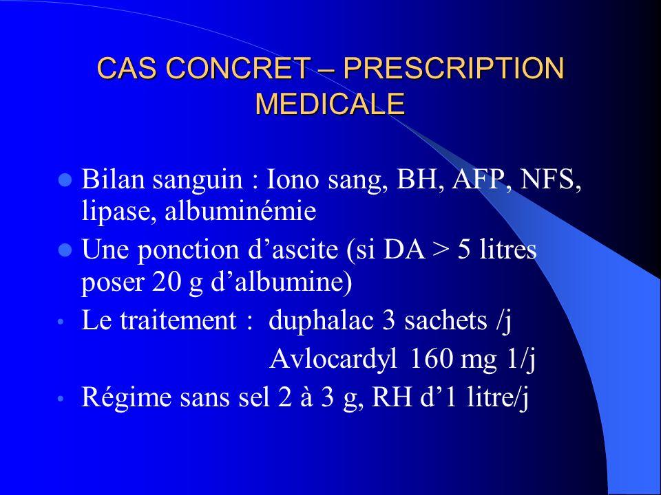 CAS CONCRET – PRESCRIPTION MEDICALE