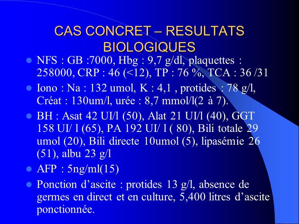 CAS CONCRET – RESULTATS BIOLOGIQUES
