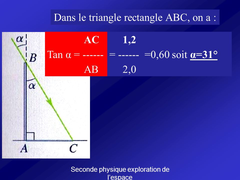 Dans le triangle rectangle ABC, on a : AC 1,2 Tan α = ------ = ------
