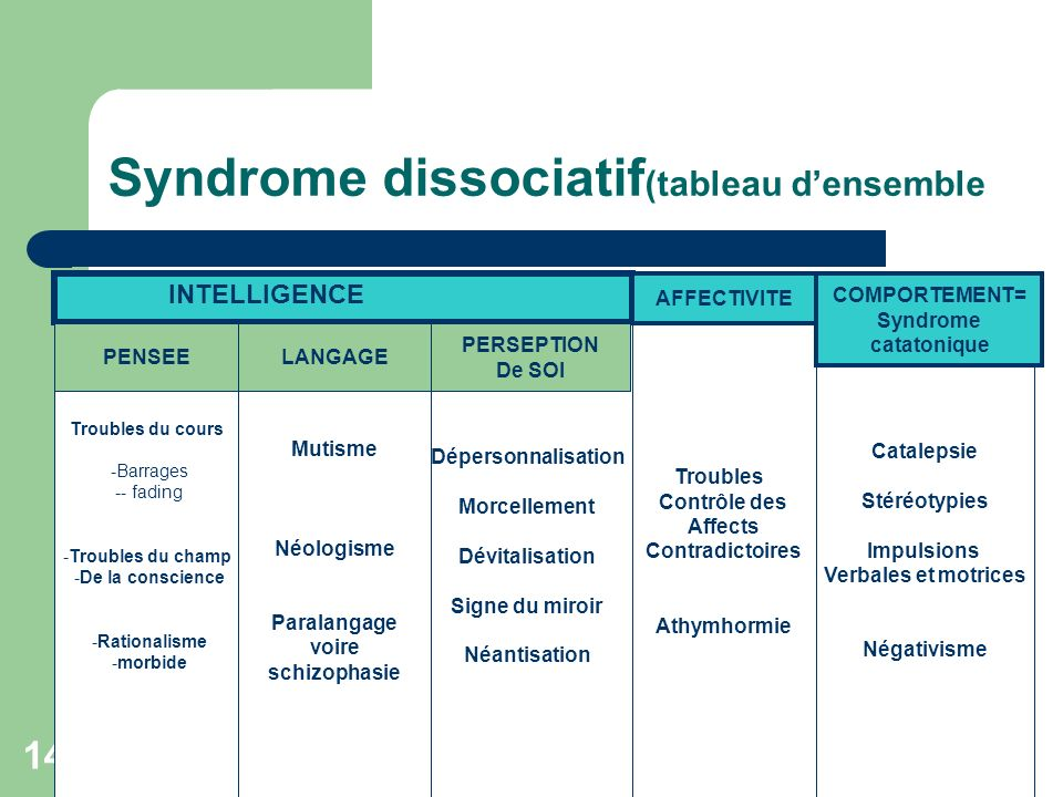 Syndrome dissociatif(tableau d'ensemble