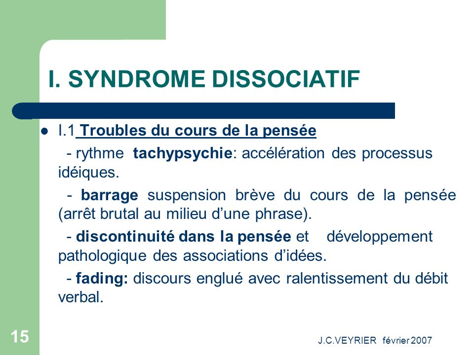 I. SYNDROME DISSOCIATIF