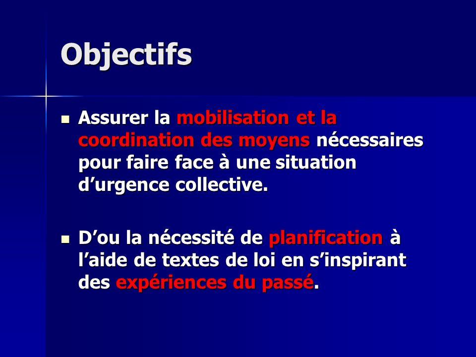 Objectifs Assurer la mobilisation et la coordination des moyens nécessaires pour faire face à une situation d'urgence collective.