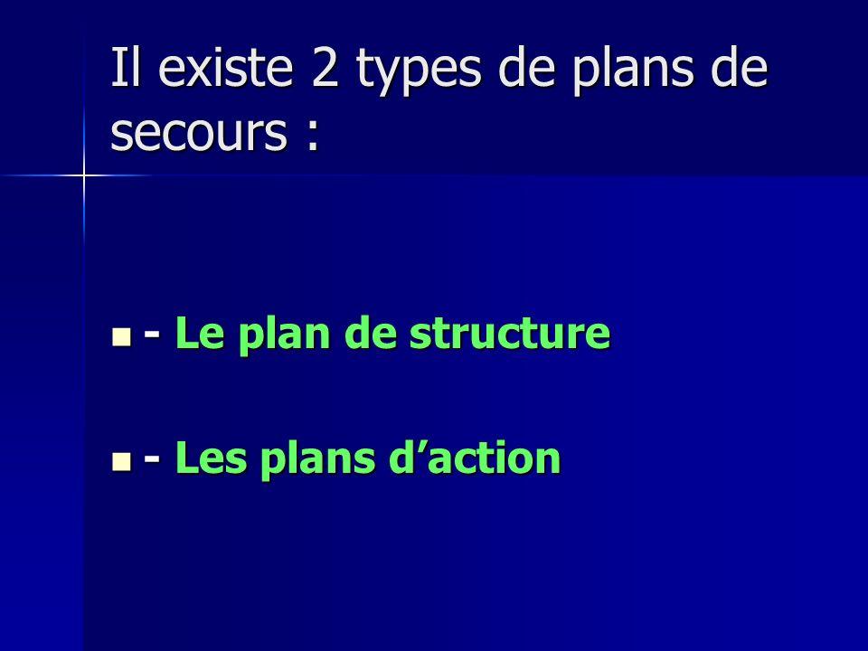 Il existe 2 types de plans de secours :