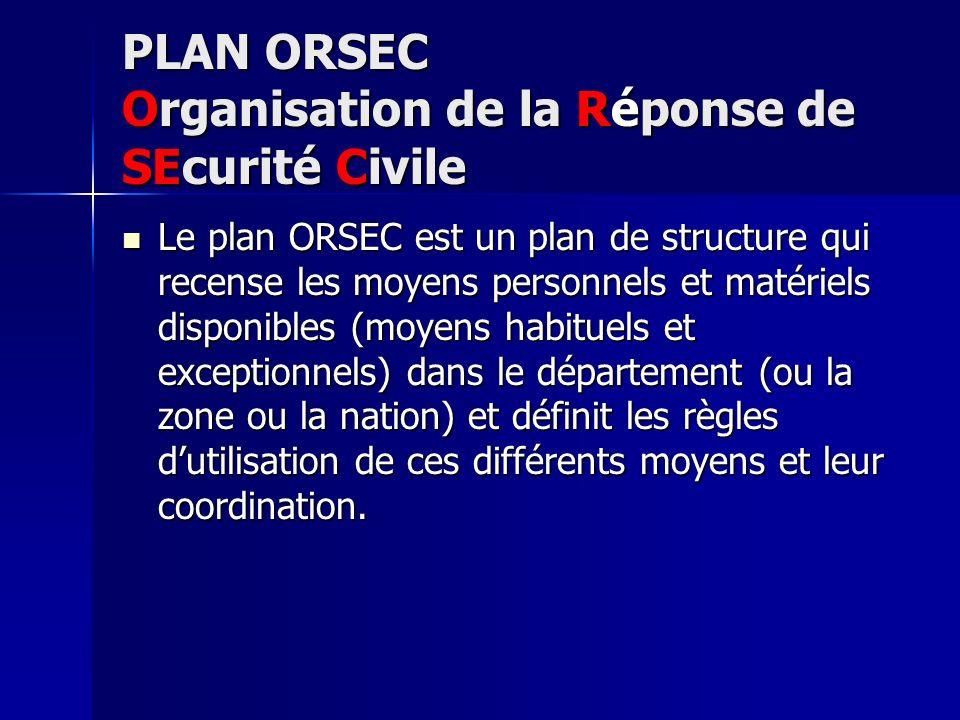 PLAN ORSEC Organisation de la Réponse de SEcurité Civile