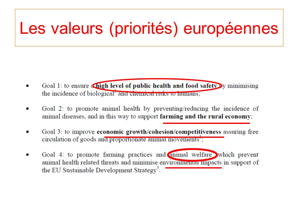 Les valeurs (priorités) européennes